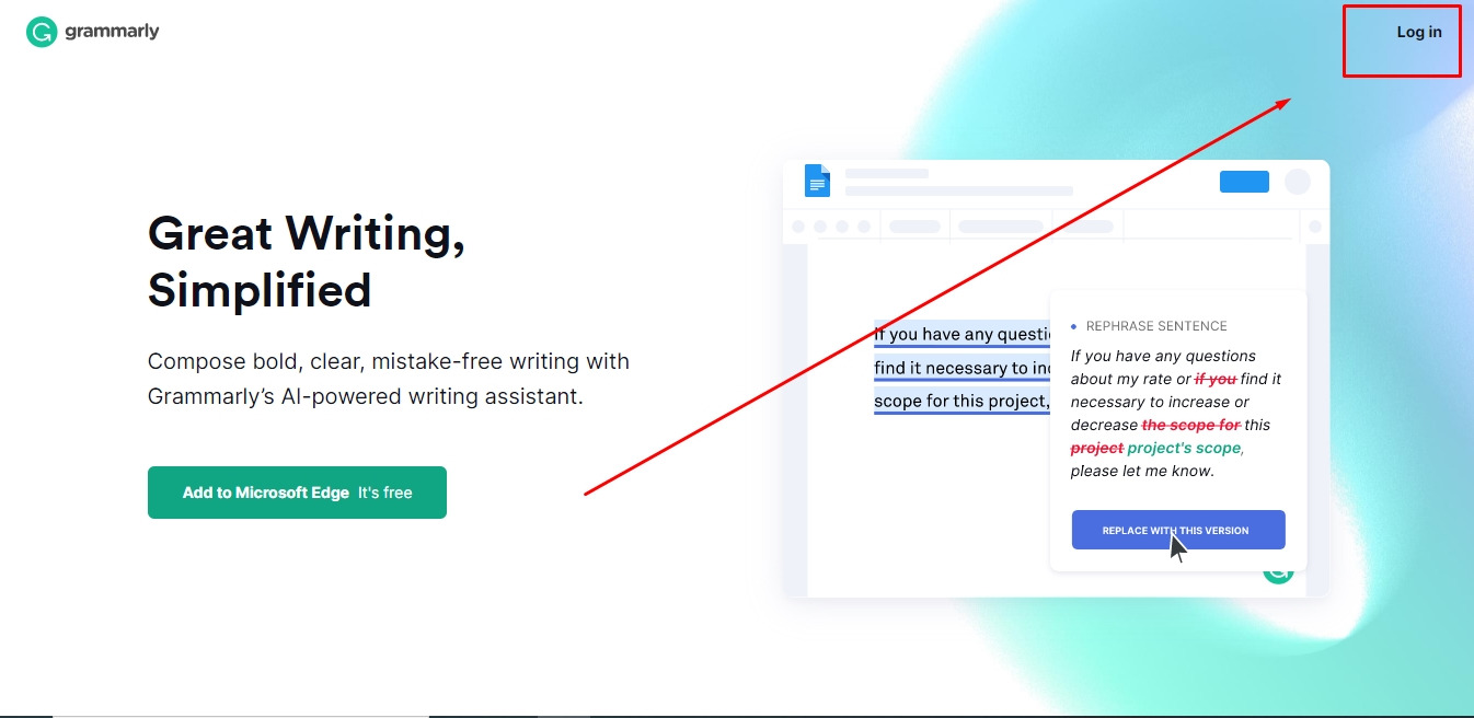 Login to grammarly