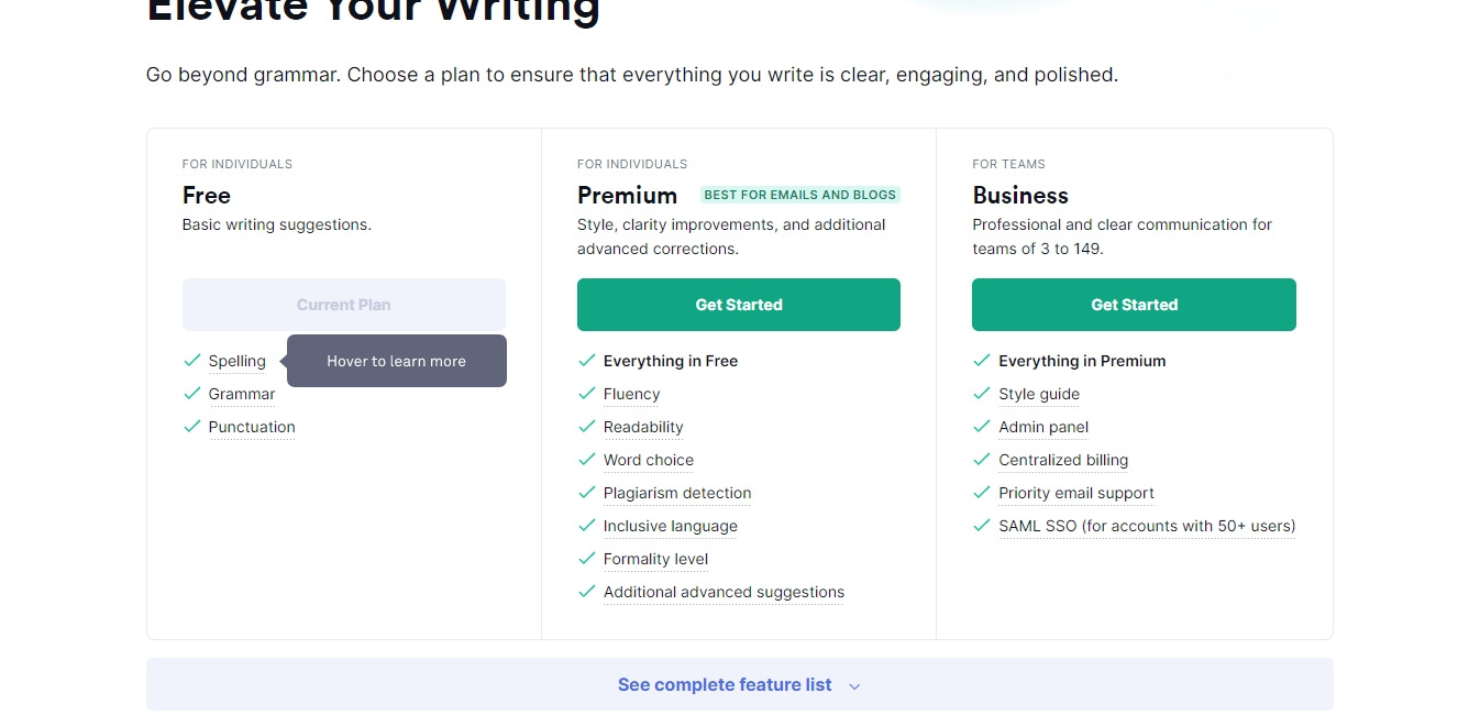 grammarly plans