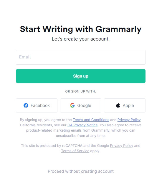 signup grammarly