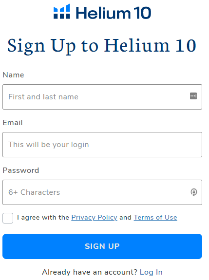 signup to helium 10