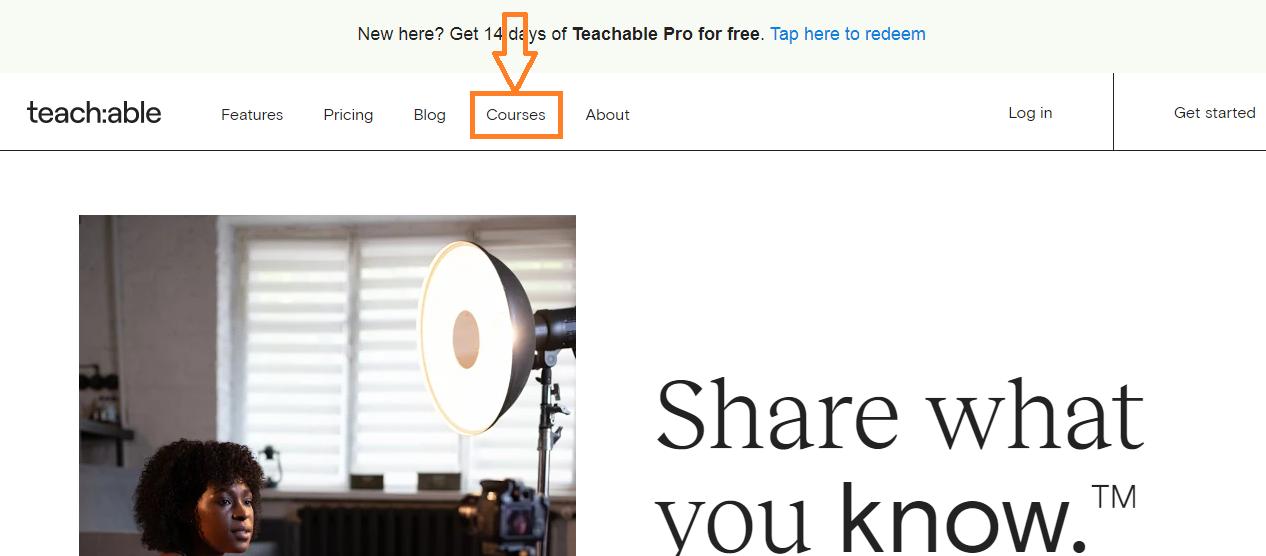 click on course option on teachable
